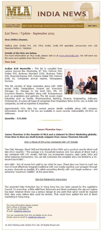 MLA-INDIA - News   Mailing Lists Global
